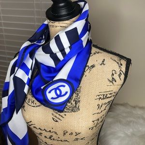Blue & white Channel scarf